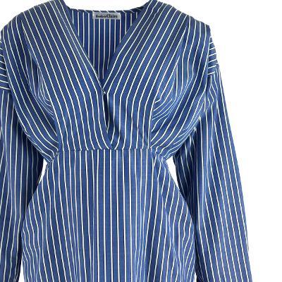 stripe v neck dress blue